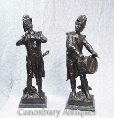 Pair French Bronze Soldiers Battle Waterloo Napoleon Military