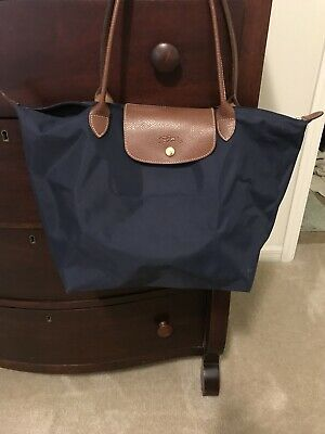 9e3a8233decc Auth Longchamp Classic Le Pliage Navy Blue Large Tote 1899 Leather Strap  Handle
