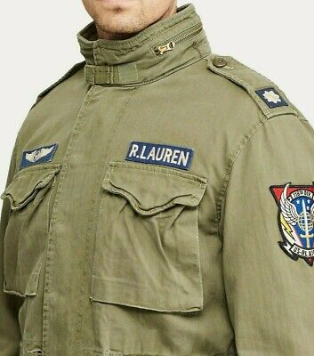 Polo Ralph Lauren Men Military US Army M-65 Patched Officer Soldier Field Jacket