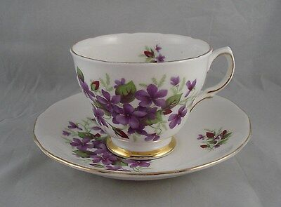 Colclough Cup & Saucer Purple Violets with Gold Trim Bone China Made in England