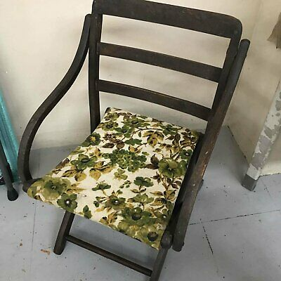Antique wood & cloth folding chair