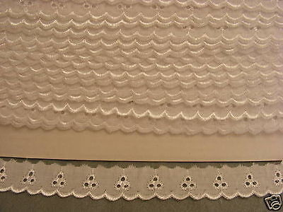Broderie Anglaise Flat Lace  (110) - White x 11 mts