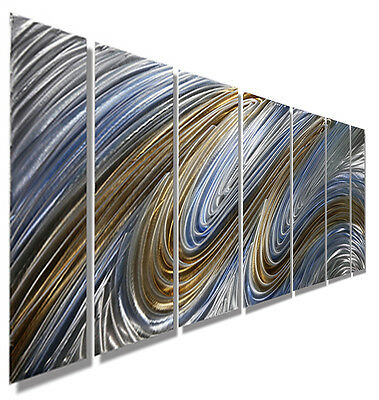 Statements2000 3D Metal Wall Art Abstract Gold Blue Painting Decor by Jon Allen