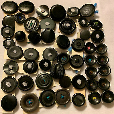 Lot 50 + Vintage Black Buttons all sizes various Years Craft Sewing Collage Art