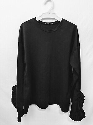 303e1d350dae4c Zara Trafaluc Black Sweater Top Ruffle Bell Sleeve Crewneck Size Small