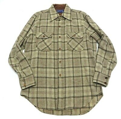 Vintage JCPenney Wool Plaid Long Sleeve Shirt Made in Korea Men's Size L (Tall)
