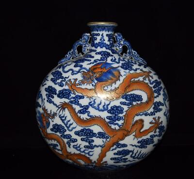 Chinese Exquisite Handmade gold dragon blue and white porcelain vase