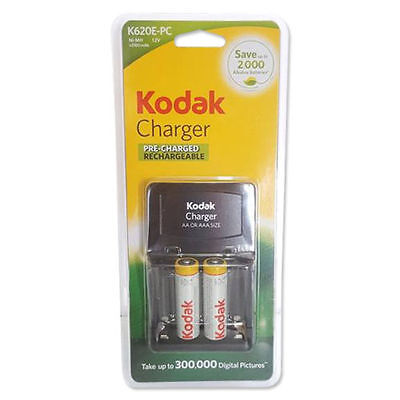 Kodak battery charger + rechargeable batteries AA + AAA Holds upto 4 Ni-MH batt