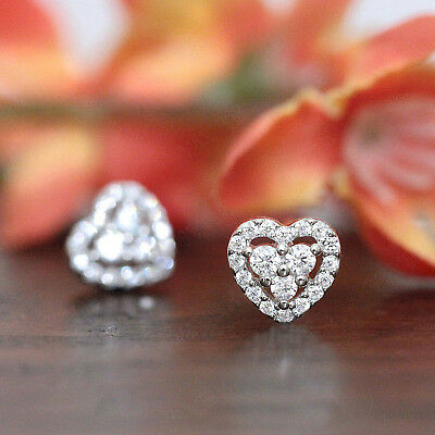1.00 Ct Heart Halo Round Cut Solitaire Diamond Earrings Studs In 14k Gold Finish