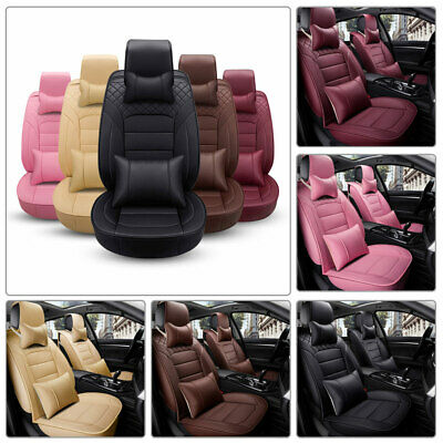 Deluxe Car Seat Cover PU Leather 5-Seats SUV Colorful Front+Rear Cushion Mat Set