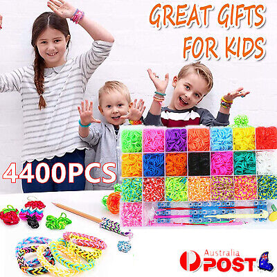 4400pcs Colorful Bands Rainbow Loom Band Storage Kit Board Hooks Clips Charms