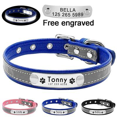 Leather Reflective Personalised Dog Collar Pet Cat Custom Name Tags Small Large