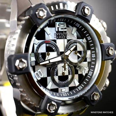 Invicta Reserve Grand Octane Mosaic 63mm Steel MOP and Onyx Swiss Mvt Watch New