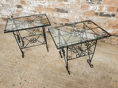 Pair Of Vintage Wrought Iron Tables, Conservatory Lamp Occasional Coffee Table