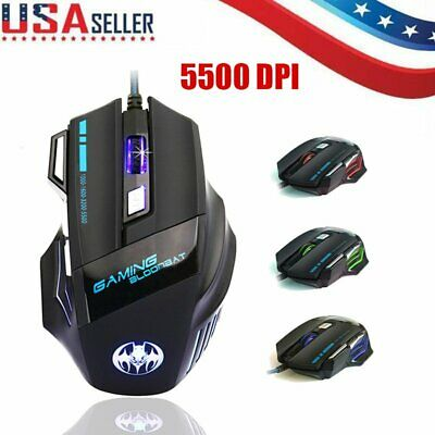 Adjustable DPI 5500 7 Buttons LED Optical USB Wired Gaming Mouse for Pro Gamer