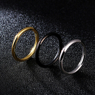 2.5mm Silver/Gold/Black Wedding Bands Mens Women's Stainless Steel Ring Size 4-8