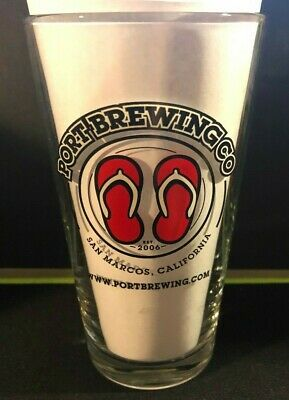 PORT BREWING CO 16 oz Shaker Pint Craft Beer Glass Flip Flops - SAN MARCOS CA