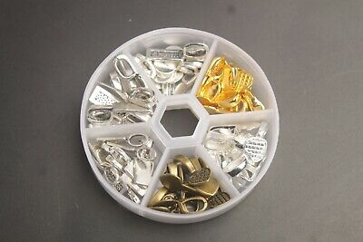 60PCS/Box Silver Golden Bronze Metal Glue on Bail Charms for Jewelry Making