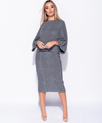 Cable Knit Co-Ord 2 Piece Loose Sleeve Set Midi Skirt Knitted Jumper