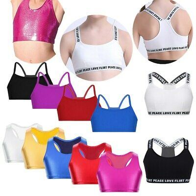 Girls Bra Tops Shiny Crop Top Dance Yoga Vest Top Sport Gym Straps Cropped Tanks