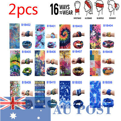 2pcs Cycling Running Neck Tube Warmer Scarf Snood Face Mask 16 Ways to Wear AU