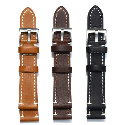 Universal Retro Genuine Leather Wrist Watch Band Strap Replacement 18/20/22/23mm