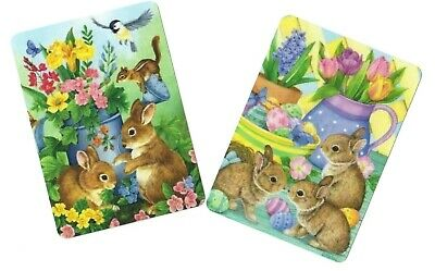Swap / Playing Card ~ Easter  Bunny Rabbits   ~ Modern Wide  ~ 2 Cards