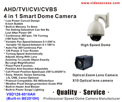 AHD TVI CVI CVBS 4 in 1 Smart Dome Camera  PTZ 1080p IP66 CCTV 10X Speed Dome
