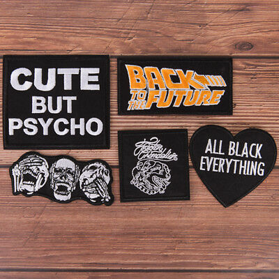 1X Black  embroidered sew on iron on patch badge fabric craft transfer