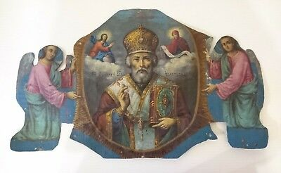 Antique Russian Icons Double-Sided Hand-Painted on Canvas 19th c.