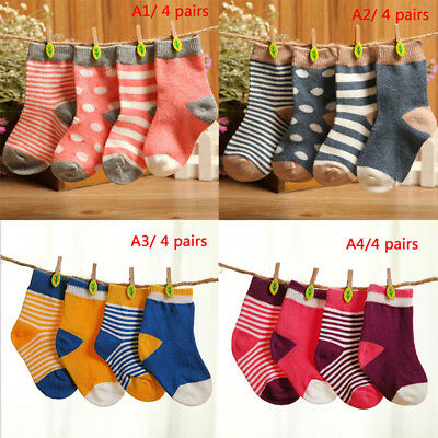 4 Pairs/set cotton cute baby socks fashion cartoon soft floor baby socks