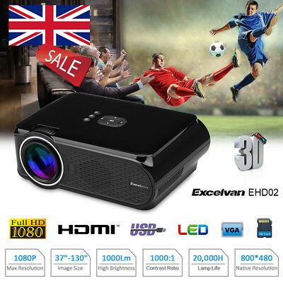 Excelvan 1080P 3D LED Projector Multimedia Home Theater Cinema HDMI/USB/SD/VGA