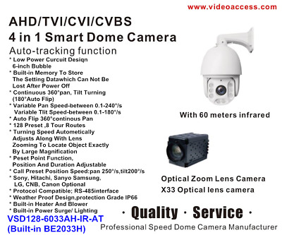 AHD TVI CVI CVBS 4 in 1 Smart IR Dome Camera  PTZ 1080p IP66 CCTV 33X Auto-Track