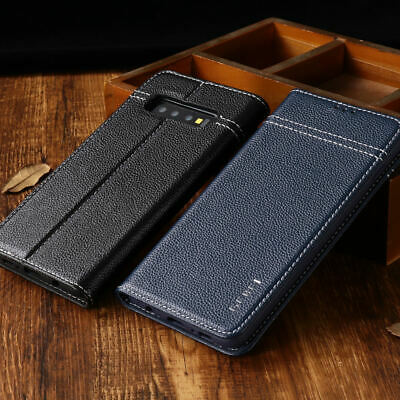 Luxury Genuine Leather Flip Wallet Card Case Cover For Samsung Galaxy S10 E Plus