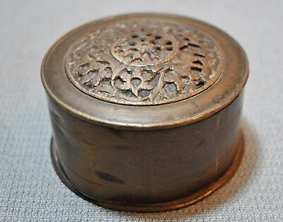Old India Collectible Hand Crafted Engraved Brass Kum Kum Powder Tika Box