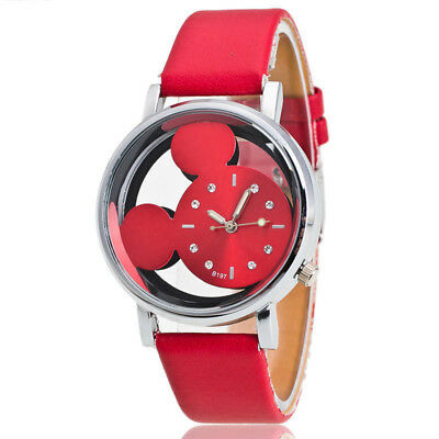 1PCS Mickey Mouse Leather Wrist Watch Lady Girl Women Teens Kids Cartoon RED