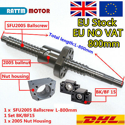 【From EU】Ball Screw SFU2005 800mm C7+BK/BF 15 Support+