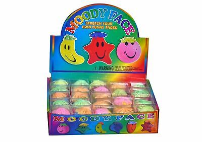 24x Funny Moody Face Squishy Moulding Stress Ball Kids Party Bag Filler Toy Gift