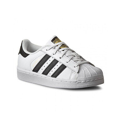 on sale 8b90a be6fc Scarpe Adidas SUPERSTAR K BA8378 Bianco Nero BA8378 Bambino Nuovo Pelle  sneakers
