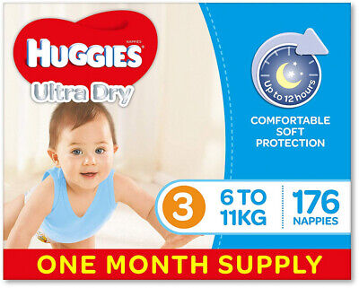 HUGGIES Ultra Dry Nappies, Boys, Size 3 Crawler (6-11kg), 176 Count, 1 Month