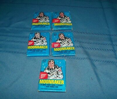 5 packs Vintage 1979 Topps James Bond Moonraker movie cards sealed w bubble gum