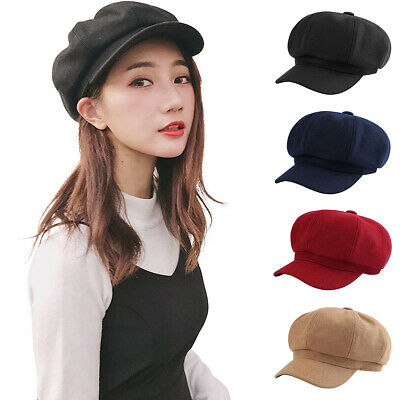 Mens Womens Wool Blend Baker Boy Peaked Cap Newsboy Hat with Elastic Band  7Color 81f120f59ac9