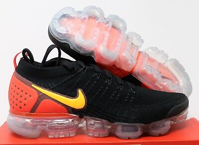 Nike Air Vapormax Flyknit 2 Black-Lase Orange Sz 10.5 [942842-005]