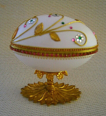 Decorated Real Goose Egg Trinket Box Footed Easter Birthday Gift