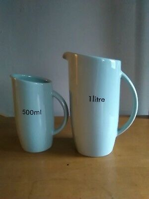 Retro Light Blue Ceramic Measuring Jugs (1L & 500ML) - Pre-owned