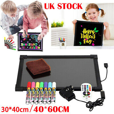 60x40cm Sensory LED Writing Board Light Up Flashing Box Message Erasable Toy UK