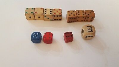 """Lot of Vintage Wood Wooden Dice Blue Red Natural 1/2"""" to 5/8"""""""