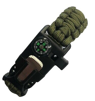Paracord 5 in 1 outdoor survival bracelet tool Paracord whistle compass flint