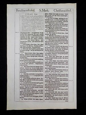 1611 King James Bible Leaf Page *book Of Mark 14:39-15:31 *christ Crucified * Nf