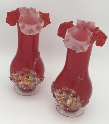 A PAIR OF MURANO GLASS MID CENTURY HAND BLOWN CASED RED VASES 1950s